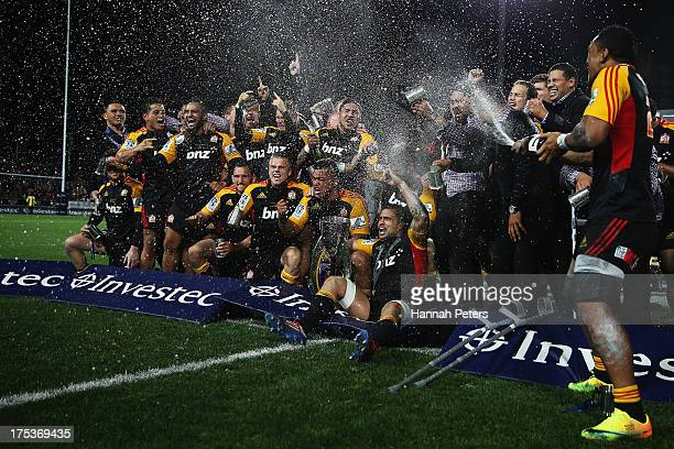 The Chiefs celebrate after winning the Super Rugby Final match between the Chiefs and the Brumbies at Waikato Stadium on August 3 2013 in Hamilton...