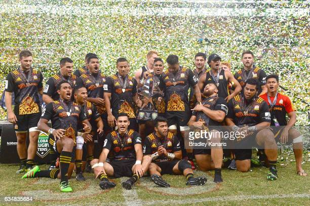 The Chiefs celebrate their victory after the Rugby Global Tens Final match between the Crusaders and Chiefs at Suncorp Stadium on February 12 2017 in...