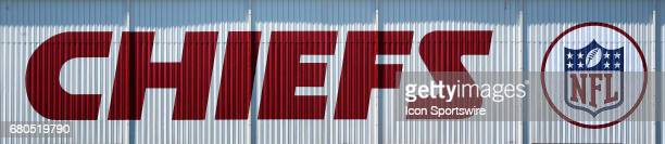 The Chiefs logo on a building at the Chiefs Training Facility during the Chiefs Rookie Camp on May 7 2017 at One Arrowhead Drive in Kansas City MO