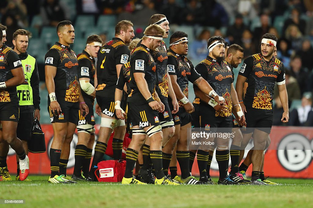 The Chiefs looks dejected after a Waratahs try during the round 14 Super Rugby match between the Waratahs and the Chiefs at Allianz Stadium on May 27, 2016 in Sydney, Australia.