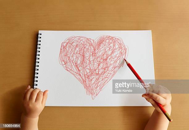 The child describing a heart mark.