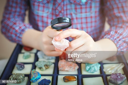 The child looks at his collection of minerals. The little geologist. : Stock Photo