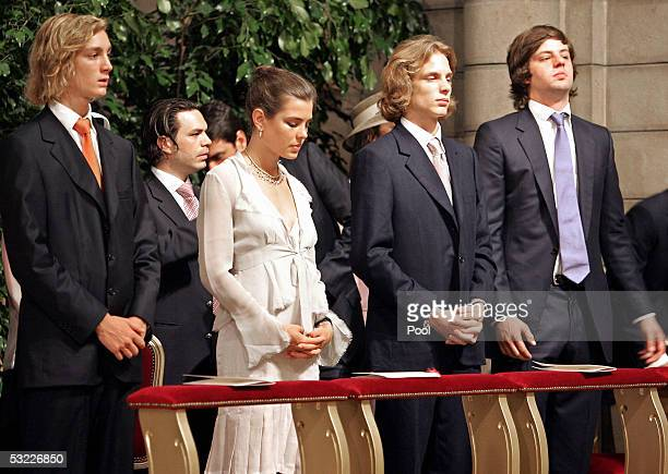 The children of Princess Caroline of Monaco Pierre Casiraghi Charlotte Casiraghi Andrea Casiraghi and her soninlaw Prince Ernst August of Hanover...