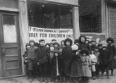 The children of striking workers in Lawrence Massachusetts wait for a free meal during the Lawrence Textile Strike 1912 Immigrant workers in Lawrence...