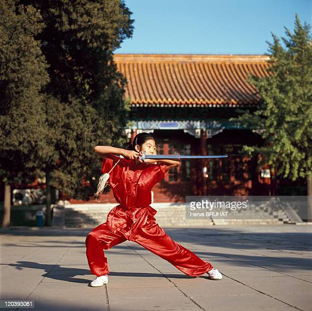The Children's Palace in Beijing China in 2002 Kung Fu class at 'the children's palace' an educational center set up in the museum of the Forbidden...