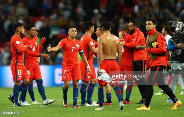 The Chile team celebrate after the FIFA Confederations Cup Russia 2017 Group B match between Germany and Chile at Kazan Arena on June 22 2017 in...