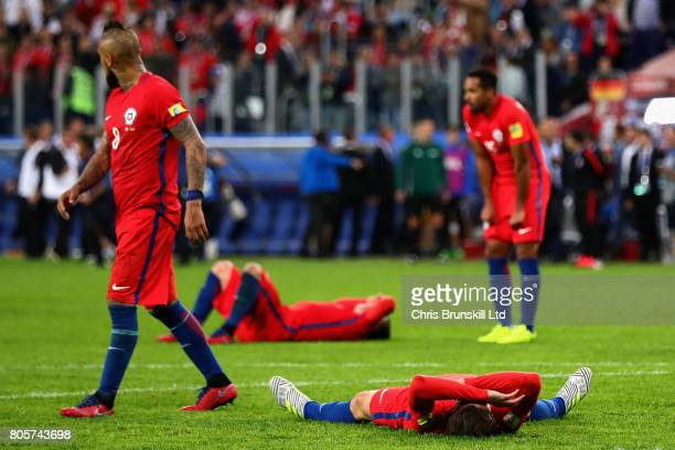 The Chile team look dejected at the final whistle during the FIFA Confederations Cup Russia 2017 Final match between Chile and Germany at Saint...