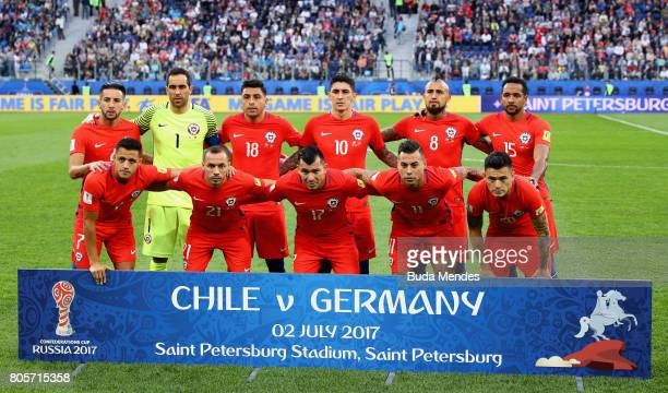 The Chile team pose for a team phoot prior to the FIFA Confederations Cup Russia 2017 Final between Chile and Germany at Saint Petersburg Stadium on...