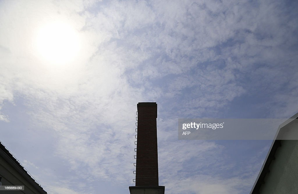 The chimney from the crematorium unit is seen at the World War II concentration camp of Mauthausen, on April 17, 2013.