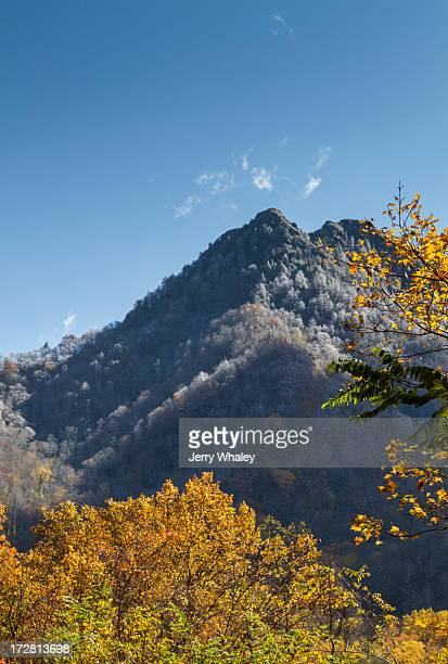 The Chimneys in autumn from Newfound Gap Road