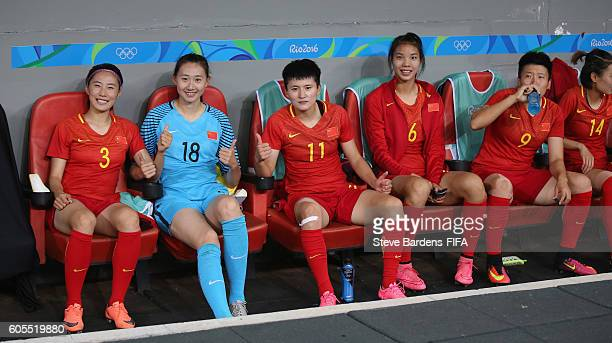 The China PR substitutes on the bench prior to the Women's First Round Group E match between China PR and Sweden on Day 4 of the Rio 2016 Olympic...