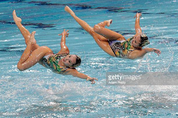 The China team compete in the Women's Team Free Synchronised Swimming Final on day seven of the 16th FINA World Championships at the Kazan Arena on...