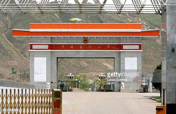 The Chinese border post on ChineseNorth Korean border on May 8 2009 in Tumen Jilin province China Chinese army and police track down all North Korean...