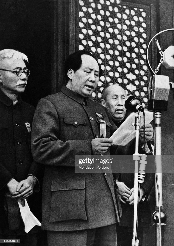 The Chinese Communist Party leader <a gi-track='captionPersonalityLinkClicked' href=/galleries/search?phrase=Mao+Zedong&family=editorial&specificpeople=77863 ng-click='$event.stopPropagation()'>Mao Zedong</a> declaring the birth of the People's Republic of China over the microphones. Beijing, 1st October 1949