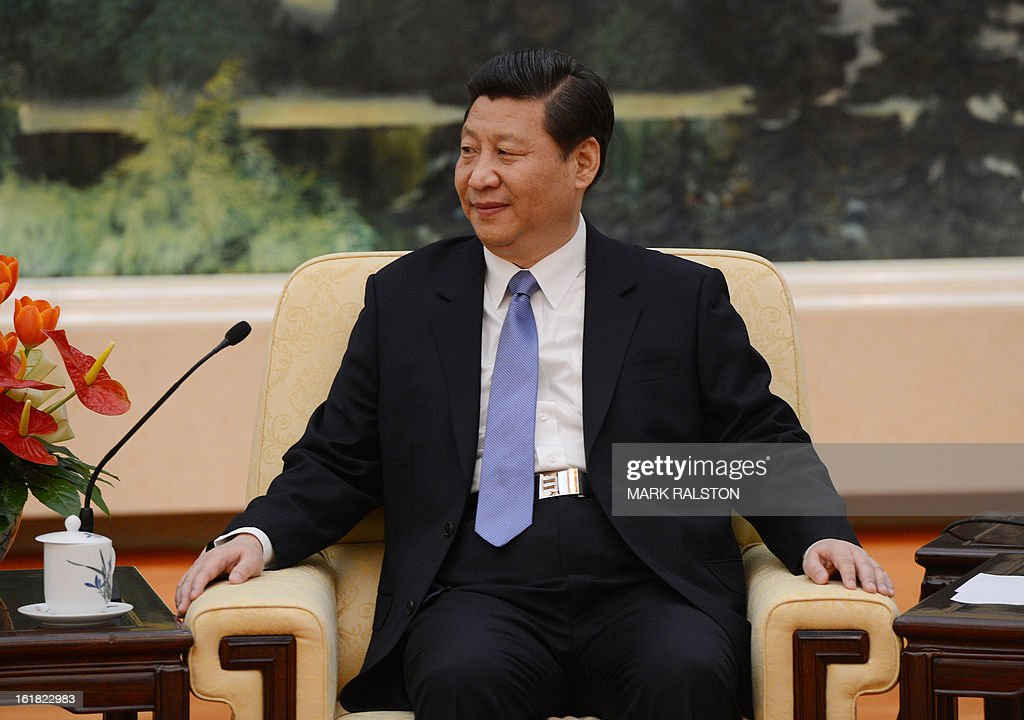 The Chinese Communist Party Secretary General and the countries new leader Xi Jinping talks with the Chairperson of the African Union Commission, Dr Nkosazana Dlamini-Zuma (not in frame) at the Great Hall of the People in Beijing on February 17, 2013. The South African recently took over as head of the African Union Commission, becoming the first woman at the helm of the pan-African bloc's executive committee. Dlamini-Zuma, an ex-wife of South African President Jacob Zuma, was previously the South African home affairs minister. AFP PHOTO/Mark RALSTON
