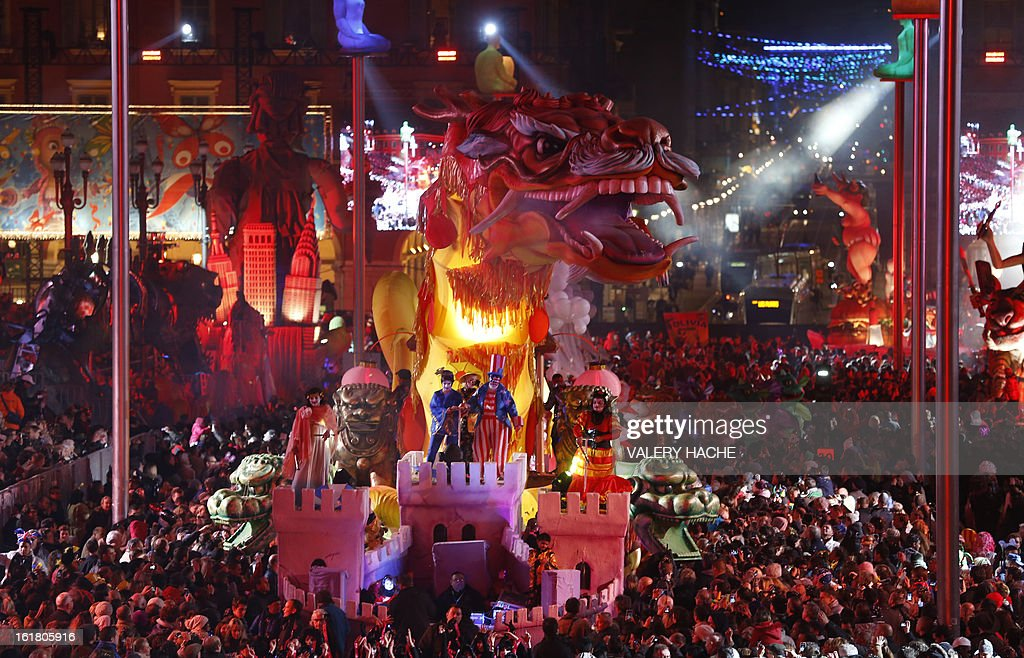 The Chinese dragon float parades on February 16, 2013 during carnival in the southeastern French city of Nice. The carnival, which ends on March 6, celebrates the King of the Five Continents for its 140th anniversary. HACHE