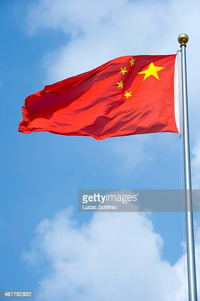 The Chinese flag flaps in the wind on August 5 2010 in Shanghai China