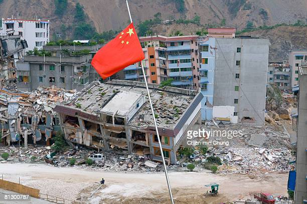The Chinese flag flies May 20 2008 in Beichuan China 50000 people are estimated to have been killed in the deadliest earthquake in China in a...