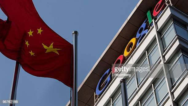 The Chinese flag flies outside the Google Inc office in Beijing China on Thursday Jan 14 2010 China brushed off Google Inc's threat to withdraw from...