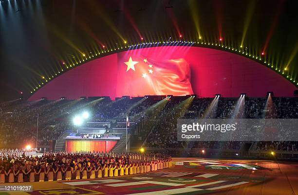 The Chinese flag is pictured as Doha hands over the Asian Games to the city of Guangzhou during the Closing Ceremony of the 15th Asian Games Doha...