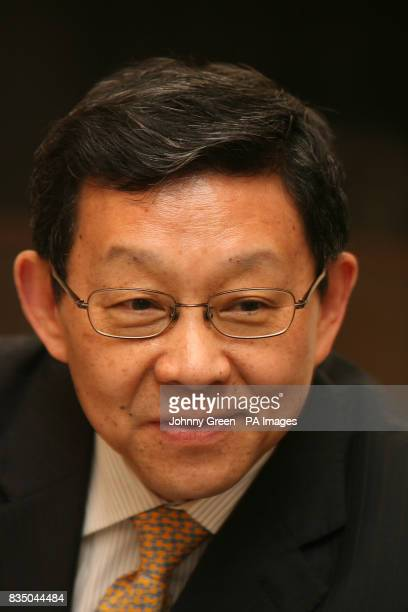 The Chinese Minister of Commerce Chen Deming attends a meeting with young business people at the Mandarin Oriental Hotel in Knightsbridge west London