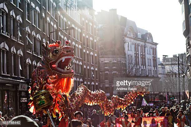 The Chinese New Year's Parade through the streets of the center of London from Trafalgar Square to Leicester Square to celebrate the year of the horse