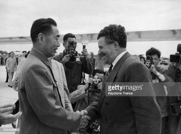 The Chinese Prime Minister ZHOU ENLAI greeting Bulgarian Prime Minister Anto YUGOV upon his arrival in Peking on September 14 1957