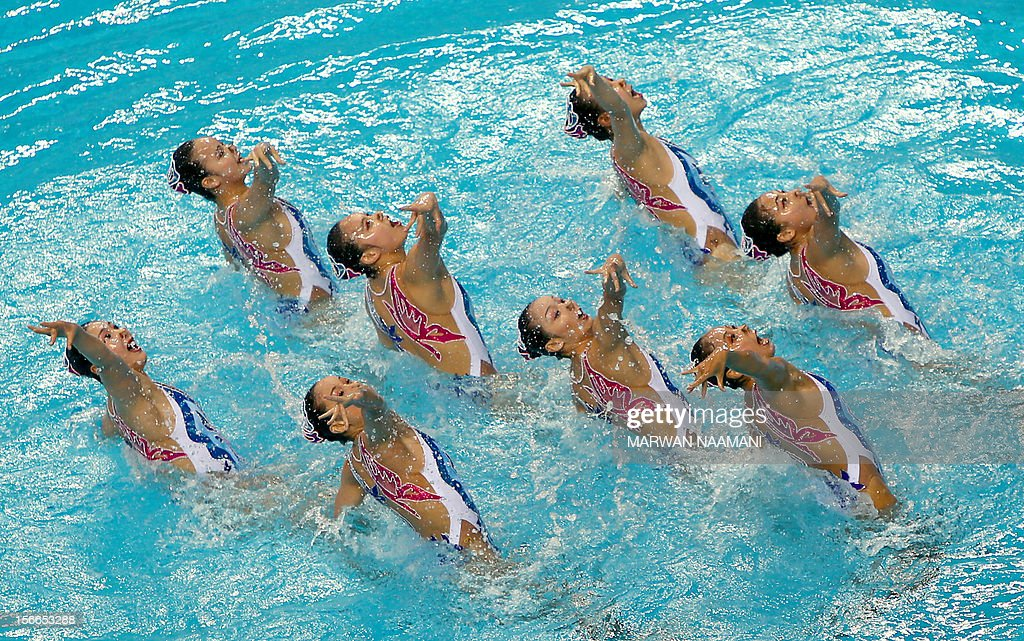 The Chinese team performs in the Teams Free Routine Syncronised swimming final during the 9th Asian Swimming Championships in Dubai, on November 18, 2012. China won the gold medal.