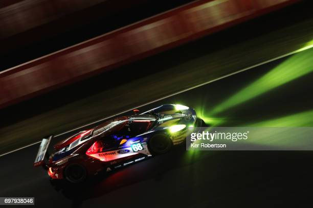 The Chip Ganassi Ford GT of Joey Hand Tony Kanaan and Dirk Muller drives during the Le Mans 24 Hours race at the Circuit de la Sarthe on June 18 2017...