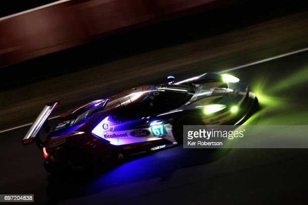 The Chip Ganassi Ford GT of Pipo Derani Andy Priaulx and Harry Tincknell drives during the Le Mans 24 Hours race at the Circuit de la Sarthe on June...