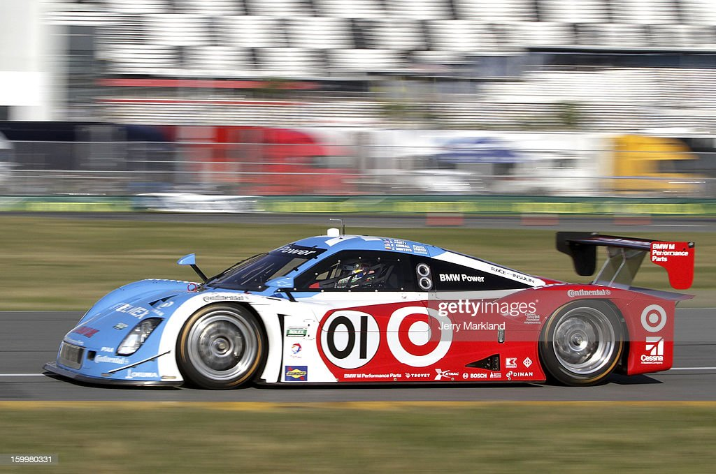 The #01 Chip Ganassi Racing with Felix Sabates BMW Riley driven by <a gi-track='captionPersonalityLinkClicked' href=/galleries/search?phrase=Scott+Pruett&family=editorial&specificpeople=541449 ng-click='$event.stopPropagation()'>Scott Pruett</a>, <a gi-track='captionPersonalityLinkClicked' href=/galleries/search?phrase=Memo+Rojas&family=editorial&specificpeople=3547976 ng-click='$event.stopPropagation()'>Memo Rojas</a> <a gi-track='captionPersonalityLinkClicked' href=/galleries/search?phrase=Juan+Pablo+Montoya&family=editorial&specificpeople=202004 ng-click='$event.stopPropagation()'>Juan Pablo Montoya</a>, Charlie Kimball and <a gi-track='captionPersonalityLinkClicked' href=/galleries/search?phrase=Scott+Dixon&family=editorial&specificpeople=183395 ng-click='$event.stopPropagation()'>Scott Dixon</a> drives on track during practice at Daytona International Speedway on January 24, 2013 in Daytona Beach, Florida.