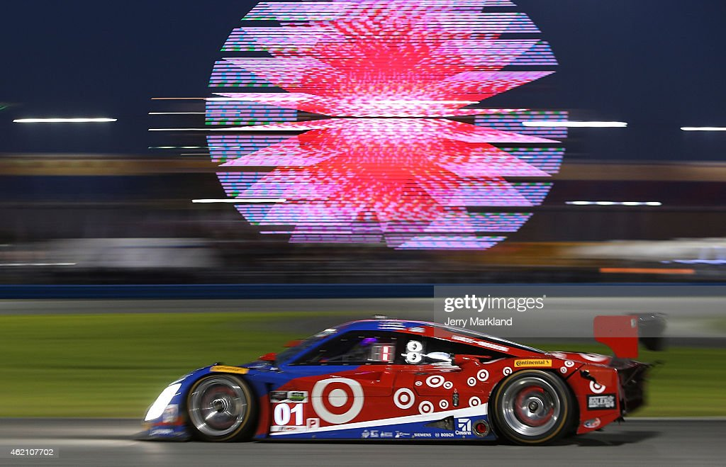 The #01 <a gi-track='captionPersonalityLinkClicked' href=/galleries/search?phrase=Chip+Ganassi&family=editorial&specificpeople=224532 ng-click='$event.stopPropagation()'>Chip Ganassi</a> Racing with Felix Sabates Ford EcoBoost/Target Riley driven by <a gi-track='captionPersonalityLinkClicked' href=/galleries/search?phrase=Scott+Pruett&family=editorial&specificpeople=541449 ng-click='$event.stopPropagation()'>Scott Pruett</a>, <a gi-track='captionPersonalityLinkClicked' href=/galleries/search?phrase=Joey+Hand&family=editorial&specificpeople=3547981 ng-click='$event.stopPropagation()'>Joey Hand</a>, <a gi-track='captionPersonalityLinkClicked' href=/galleries/search?phrase=Charlie+Kimball&family=editorial&specificpeople=7404865 ng-click='$event.stopPropagation()'>Charlie Kimball</a> and <a gi-track='captionPersonalityLinkClicked' href=/galleries/search?phrase=Sage+Karam&family=editorial&specificpeople=12423631 ng-click='$event.stopPropagation()'>Sage Karam</a> races during The Rolex 24 at Daytona at Daytona International Speedway on January 24, 2015 in Daytona Beach, Florida.