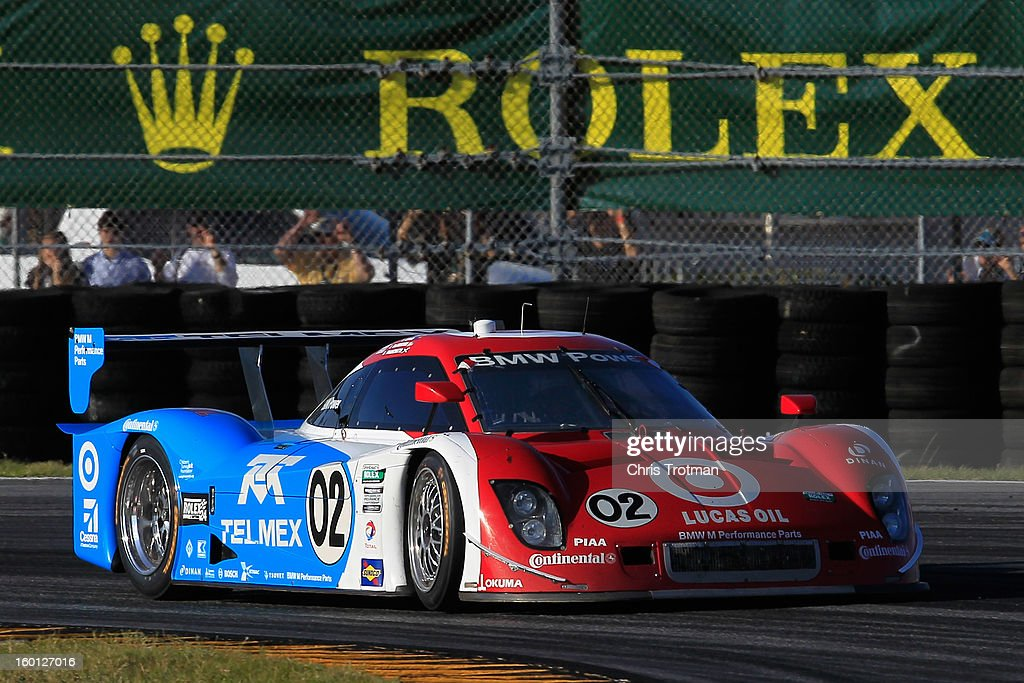 The #02 Chip Ganassi Racing with Felix Sabates Target/TELMEX Ford Riley driven by Scott Pruett, Dario Franchitti, Jamie McMurray, Joey Hand and Scott Dixon drives during the Rolex 24 at Daytona International Speedway on January 26, 2013 in Daytona Beach, Florida.