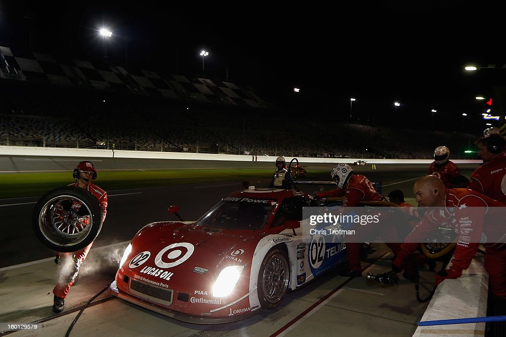The #02 Chip Ganassi Racing with Felix Sabates Target/TELMEX Ford Riley driven by Scott Pruett, Dario Franchitti, Jamie McMurray, Joey Hand and Scott Dixon, pits during the Rolex 24 at Daytona International Speedway on January 26, 2013 in Daytona Beach, Florida.