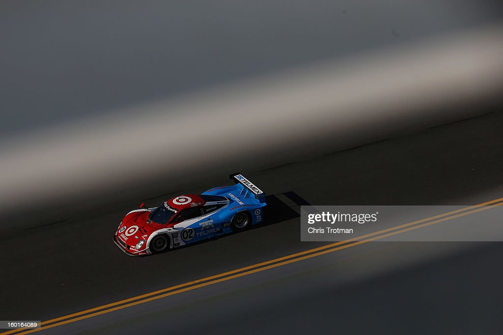 The #02 Chip Ganassi Racing with Felix Sabates Target/TELMEX Ford Riley driven by Scott Pruett, Dario Franchitti, Jamie McMurray, Joey Hand and Scott Dixon drives during the Rolex 24 at Daytona International Speedway on January 27, 2013 in Daytona Beach, Florida.