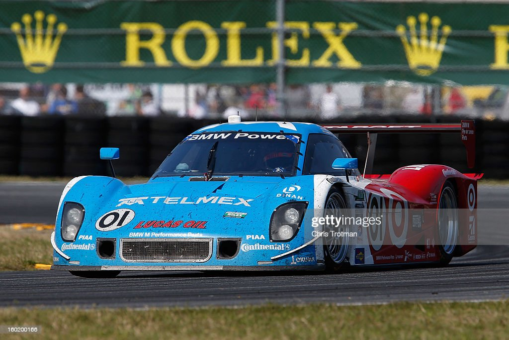 The #01 Chip Ganassi Racing with Felix Sabates TELMEX/Target Ford BMW Riley driven by Scott Pruett, Memo Rojas, Juan Pablo Montoya, Charlie Kimball and Scott Dixon drives during the Rolex 24 at Daytona International Speedway on January 27, 2013 in Daytona Beach, Florida.
