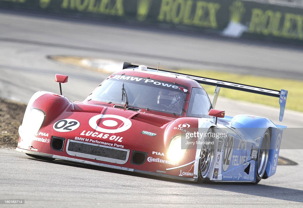 The #02 Chip Ganassi with Felix Sabetes Target/TELMEX BMW Riley driven by Scott Pruett, Dario Franchitti, Jamie McMurray, Joey Hand, and Scott Dixon drives during the Rolex 24 at Daytona International Speedway on January 27, 2013 in Daytona Beach, Florida.