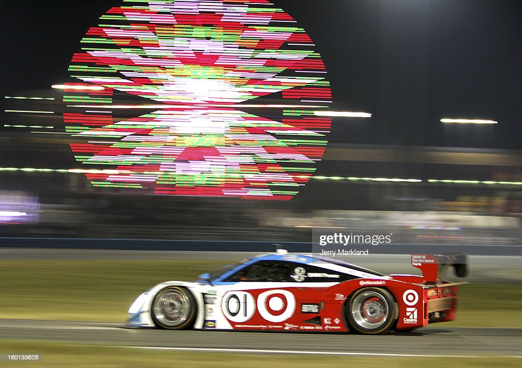 The #01 Chip Ganassi with Felix Sabetes TELMEX/Target BMW Riley driven by Scott Pruet, Memo Roja, Juan Pablo Montoya, Charlie Kimball and Scott Dixon races during the Rolex 24 at Daytona International Speedway on January 26, 2013 in Daytona Beach, Florida.