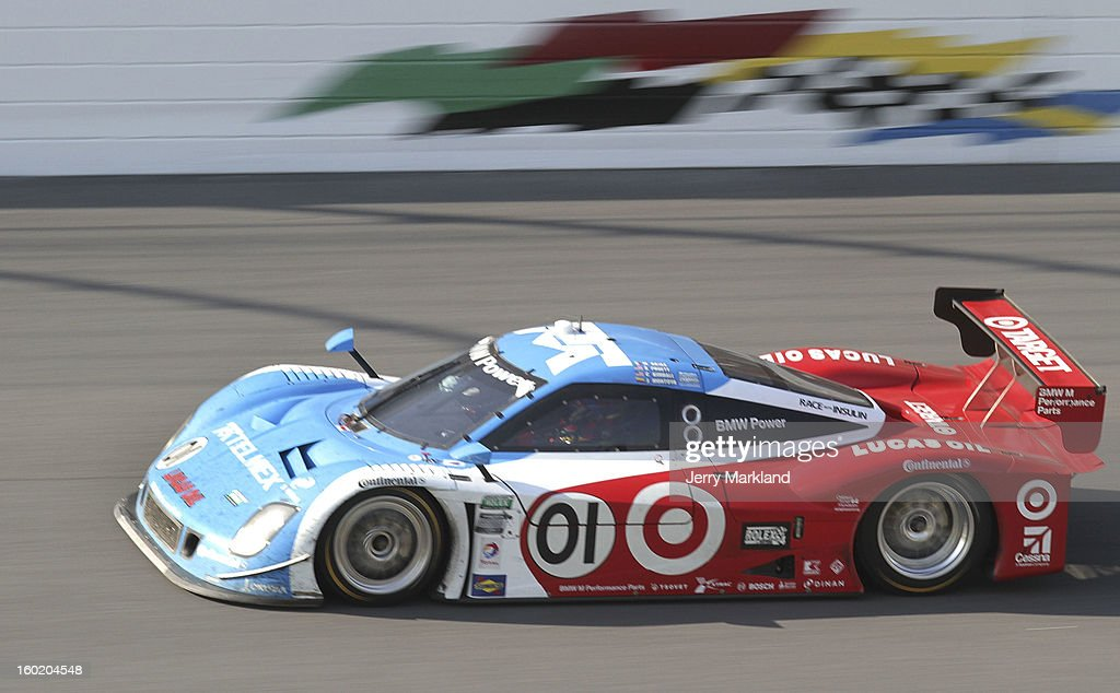 The #01 Chip Ganassi with Felix Sabetes TELMEX/Target BMW Riley driven by Scott Pruett, Memo Rojas, Juan Pablo Montoya, Charlie Kimball and Scott Dixon drives during the Rolex 24 at Daytona International Speedway on January 27, 2013 in Daytona Beach, Florida.