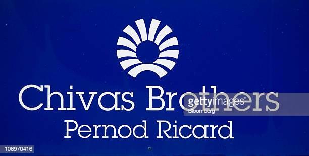 The Chivas Brothers Pernod Ricard company logo is seen displayed at the Pernod Ricard SA bottling plant in Paisley UK on Friday Nov 19 2010 Pernod...