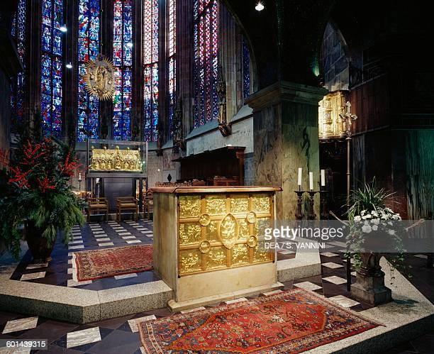 The choir of Aachen cathedral with the altar with the Pala d' Oro golden altarpiece in the foreground North RhineWestphalia Germany
