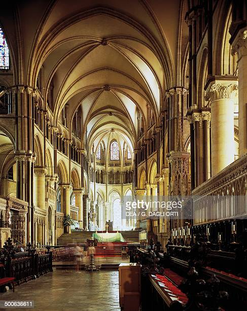 The choir of the Cathedral and Metropolitical Church of Christ at Canterbury architect William of Sens Canterbury Kent England United Kingdom...