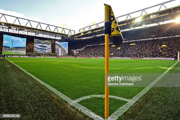 The choreography of Borussia Dortmund supporters is seen prior to the Bundesliga match between Borussia Dortmund and FC Bayern Muenchen at Signal...