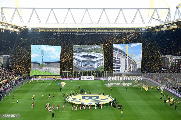 The choreography of Borussia Dortmund's fans prior to the Bundesliga match between Borussia Dortmund and FC Bayern Muenchen at Signal Iduna Park on...