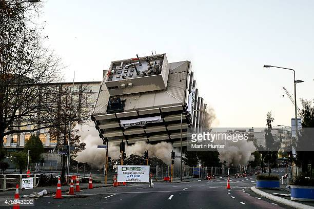 The Christchurch Central Police Station is imploded on May 31 2015 in Christchurch New Zealand The 13th story earthquakedamaged building was marked...