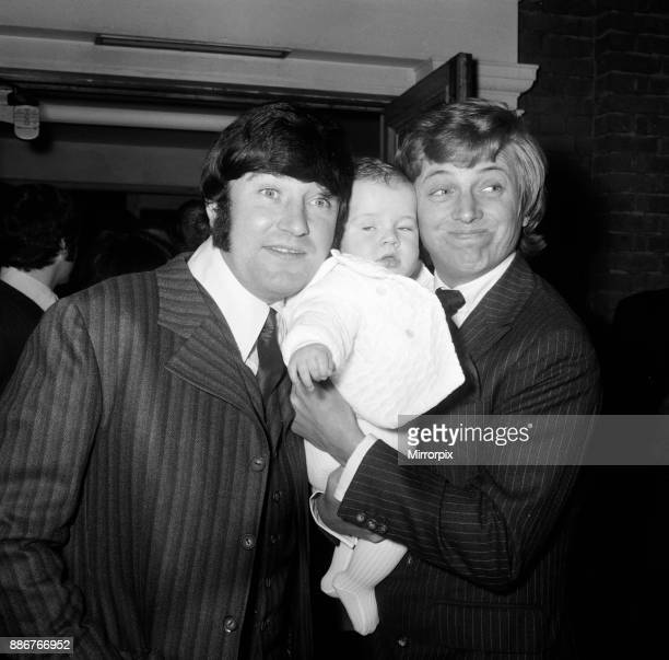 The Christening of sixmonthold James Thomas Tarbuck son of comedian Jimmy Tarbuck at St Anne's Church Kingston Hill Godfather Tommy Steele is...