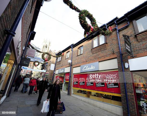 The Christmas decorations are on display as city centre shops in York advertise their preChristmas sales