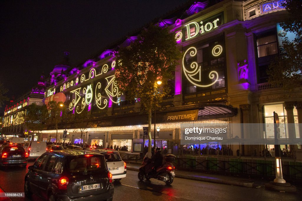 The Christmas Decorations Inaugurations is pictured outside at Printemps Haussmann on November 9, 2012 in Paris, France.