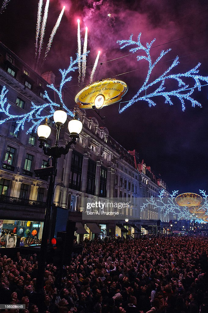 The Christmas lights are illuminated at Regent Street after being switched on by London 2012 Olympic athletes from Team GB on November 13, 2012 in London, England.