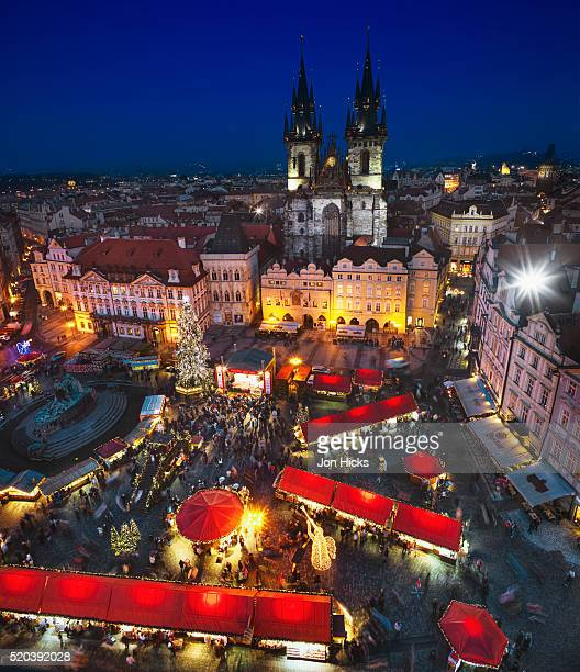 The Christmas market in Old Town Square with Tyn Church behind
